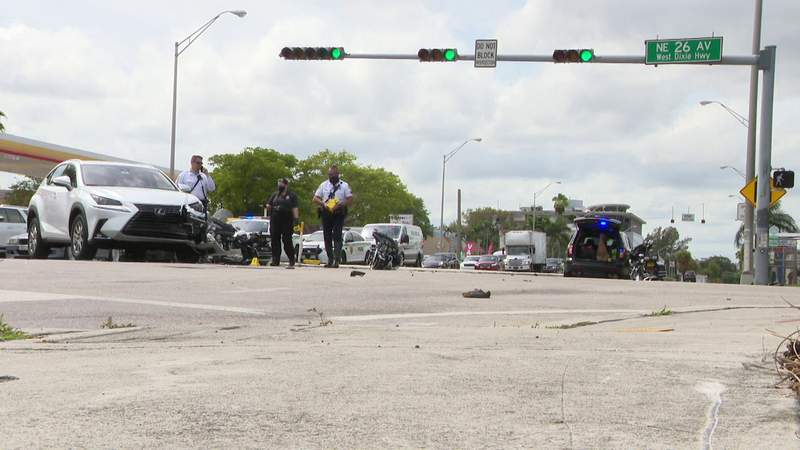 The driver of an SUV collided with a Miami Beach motorcycle officer Saturday.