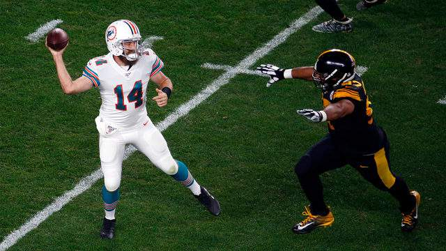 Ryan Fitzpatrick of the Miami Dolphins drops back to pass against the Pittsburgh Steelers on October 28, 2019.