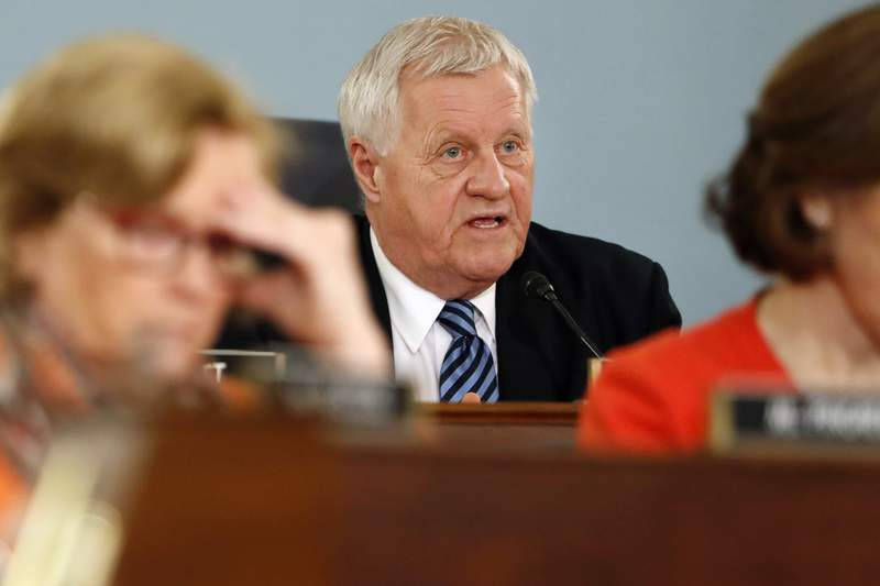 FILE - In this Feb. 27, 2019, file photo, House Agriculture Committee Chairman Rep. Collin Peterson, D-Minn., asks a question on Capitol Hill in Washington. The reelection defeat of Peterson in Minnesota and some key retirements mean a shakeup is coming for the industry on Capitol Hill, with power likely to shift from the Midwest to the South and the coasts. Both the House and Senate agriculture committees will get new chairs, and there will be a new top Republican on the House panel. (AP Photo/Jacquelyn Martin, File)