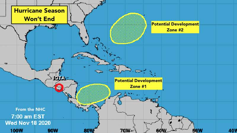 A look at two more potential zones for tropical development.
