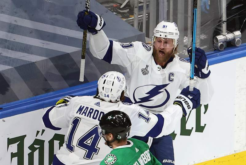 Steven Stamkos of the Tampa Bay Lightning is congratulated by Pat Maroon after scoring a goal against the Dallas Stars during the first period in Game 3 of the Stanley Cup Final on Wednesday night.