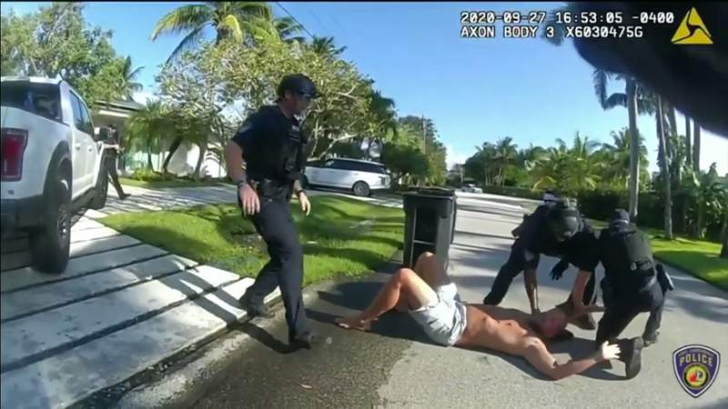 Screengrab from police bodyworn camera footage of Brad Parscale's Baker Act incident Sunday in Fort Lauderdale.
