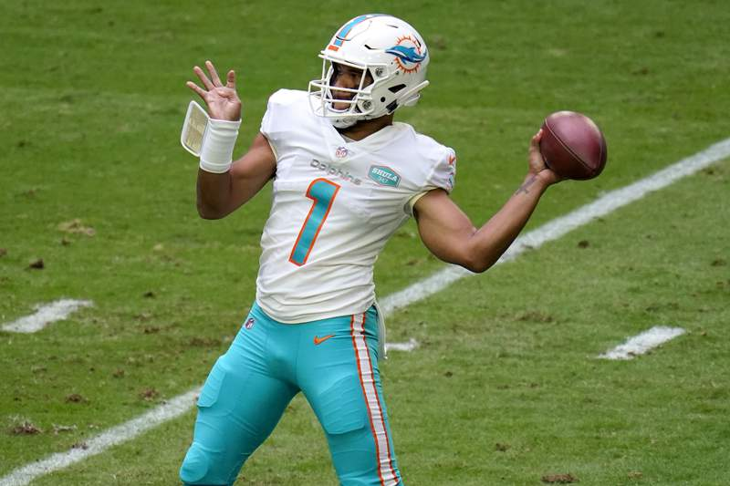 Miami Dolphins quarterback Tua Tagovailoa (1) throws against the Arizona Cardinals during the first half of an NFL football game, Sunday, Nov. 8, 2020, in Glendale, Ariz. (AP Photo/Ross D. Franklin)