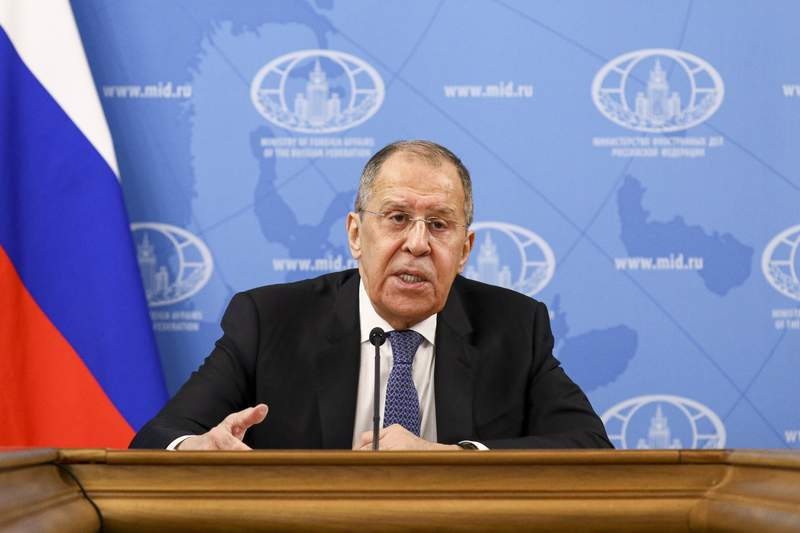 """In this handout photo released by Russian Foreign Ministry Press Service, Russian Foreign Minister Sergey Lavrov speaks during his annual news conference in Moscow, Russia, Monday, Jan. 18, 2021. Lavrov said Monday the stream of reactions to Navalny's arrest by Western officials reflects an attempt """"to divert attention from the crisis of the Western model of development."""" """"Navalny's case has received a foreign policy dimension artificially and without any foundation,"""" Lavrov said, arguing that his detention was a prerogative of Russian law enforcement agencies that explained their action. (Russian Foreign Ministry Press Service via AP)"""