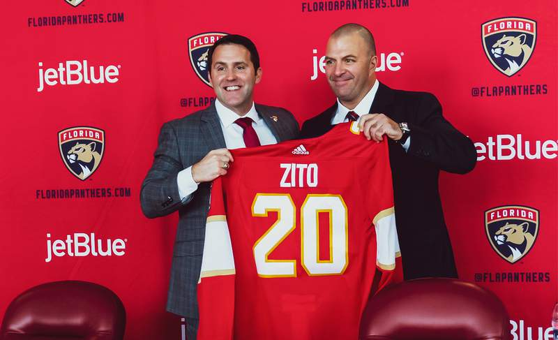 New Florida Panthers general manager Bill Zito is introduced by team president Matthew Caldwell at a press conference on September 2, 2020 at the BB&T Center in Sunrise, Florida.