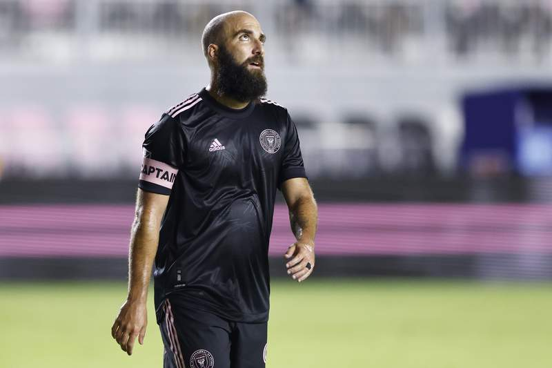 Gonzalo Higuain of Inter Miami CF reacts against CF Montreal during the second half at DRV PNK Stadium on May 12, 2021 in Fort Lauderdale, Florida.