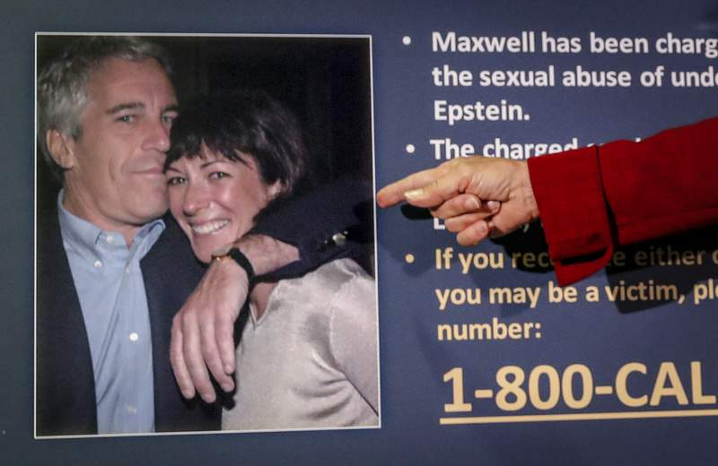 FILE - In this July 2, 2020, file photo, Audrey Strauss, acting U.S. attorney for the Southern District of New York, points to a photo of Jeffrey Epstein and Ghislaine Maxwell during a news conference in New York. Maxwell, a British socialite charged with recruiting girls for financier Epstein to sexually abuse in the 1990s, is asking a judge to dismiss the case on multiple grounds. A trial is scheduled for July 2021. (AP Photo/John Minchillo, File)