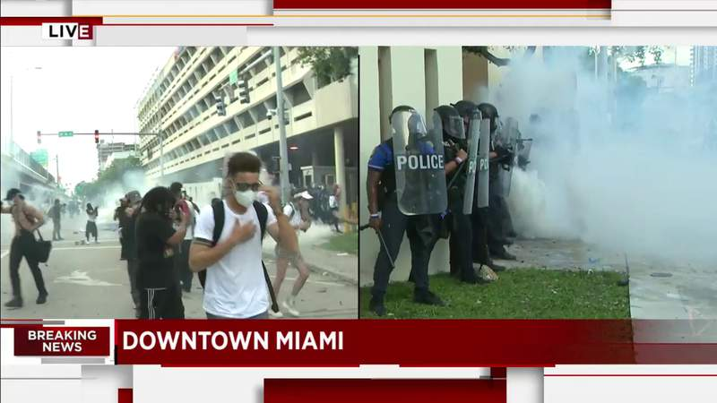 Miami protest takes a turn, police toss tear gas