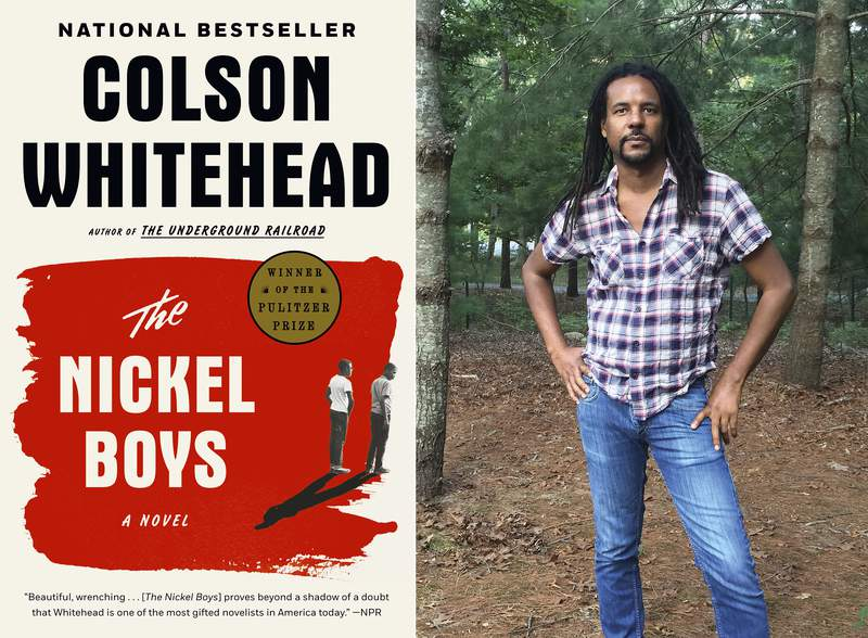 """This combination photo shows the cover of the Pulitzer Prize winning novel """"The Nickel Boys,"""" left, and a portrait of author Colson Whitehead. Whitehead became the first fiction writer to win Pulitzer Prizes for back to back novels. The Nickel Boys,  his followup to Underground Railroad, won the Pulitzer in April and comes out in paperback this week. He also managed to finish a crime novel, with the working title Harlem Shuffle, that he began more than a year ago.  (Doubleday, left, and Madeline Whitehead/Doubleday via AP)"""