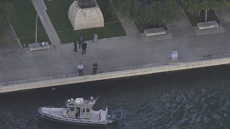 Sky 10 over the scene of a body found in the waters of Biscayne Bay.