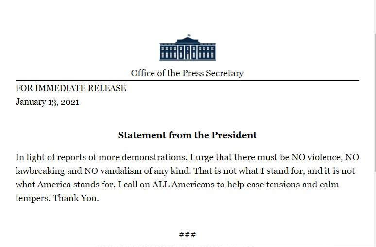 The White House releases a statement from President Donald Trump on Wednesday.