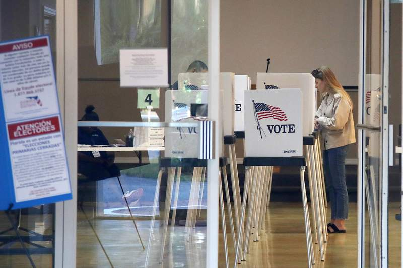 Voters cast their ballots for the Florida presidential primary, Tuesday, March 17, 2020. (AP Photo/Elise Amendola)