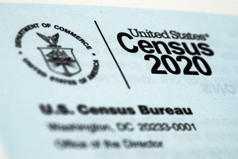 FILE - This March 19, 2020, file photo, shows a 2020 census letter mailed to a U.S. resident.  Alabama on Wednesday became the second state to challenge the U.S. Census Bureau's decision to delay by six months the release of data used for redrawing congressional and legislative districts, as it took aim at the accuracy of a privacy protection system that it alleged is holding up the process.(AP Photo/Matt Rourke, File)