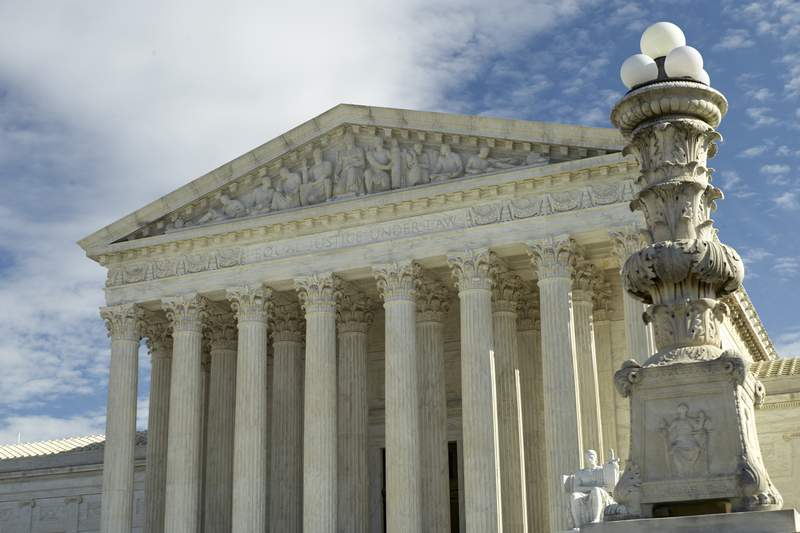 FILE - This is a Jan. 27, 2020 file photo of The Supreme Court in Washington. (AP Photo/Mark Tenally)