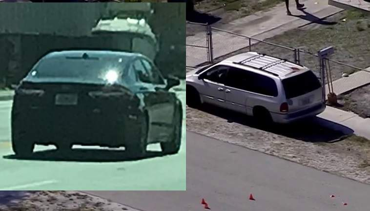 Miami Gardens police department is investigating a shooting incident. The car on the left is a vehicle of interest that may be involved.