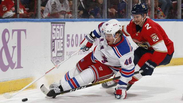 Josh Brown #2 of the New York Rangers pursues Brendan Lemieux #48 of the Florida Panthers. (Photo by Joel Auerbach/Getty Images)