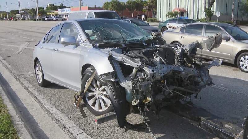 A driver was hospitalized after his car collided with a Brightline train in Pompano Beach.