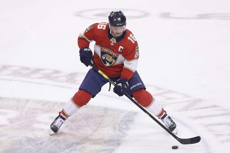 Aleksander Barkov of the Florida Panthers warms up prior to the game against the Winnipeg Jets at BB&T Center on November 14, 2019 in Sunrise, Florida.