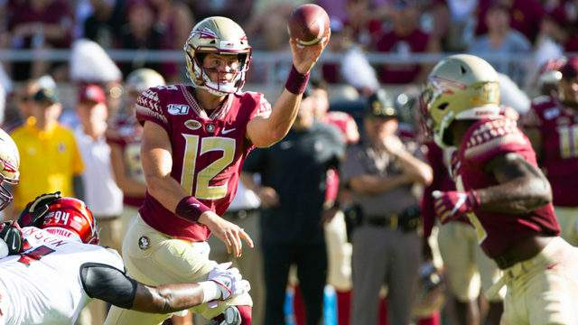 Florida State quarterback Alex Hornibrook passes underneath to running back Cam Akers in the first half against Louisville, Sept. 21, 2019, in Tallahassee, Florida.