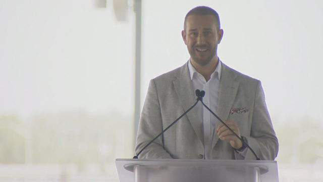 Patrick Goddard, president of Virgin Trains USA, announces that construction has begun on a stretch of track connecting South Florida to Orlando International Airport.