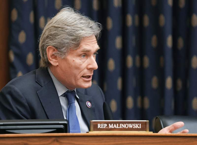FILE - In this March 10, 2021, file photo, Rep. Tom Malinowski, D-N.J., speaks during a hearing on Capitol Hill in Washington. Malinowski has scolded those looking to capitalize on the once-in-a-century pandemic. But the two term Democrat is not heeding his own admonition. Records show he's bought or sold as much as $1 million of stock in medical and tech companies that had a stake in the virus response. (Ken Cedeno/Pool via AP, File)
