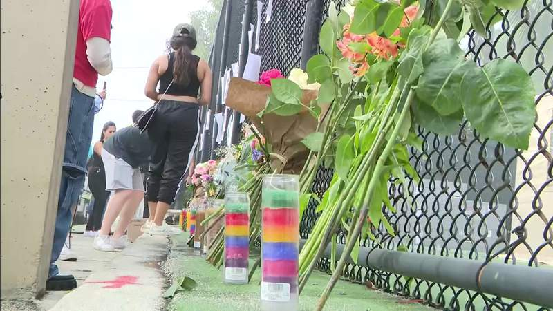 Makeshift memorial honors victims of building collapse in Surfside.