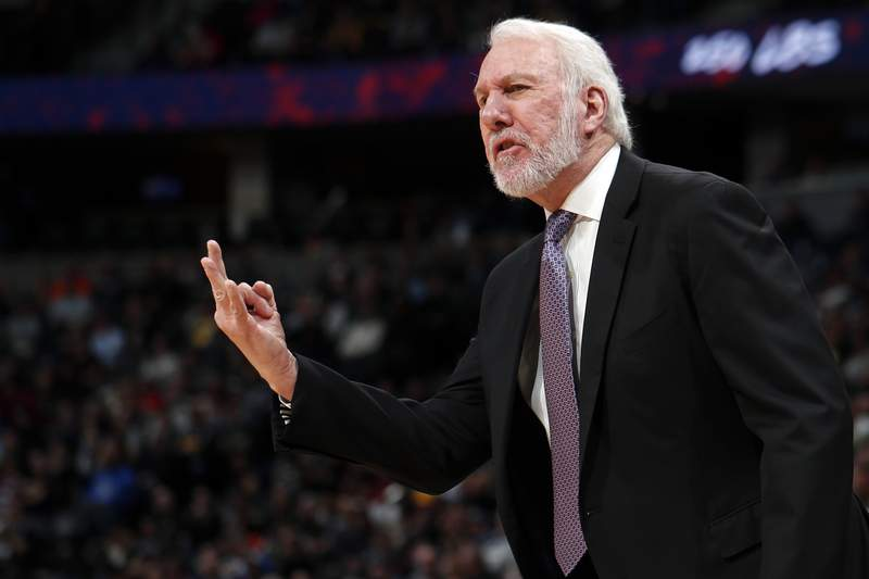 FILE - In this Feb. 10, 2020, file photo, San Antonio Spurs head coach Gregg Popovich argues for a call against the Denver Nuggets in the first half of an NBA basketball game in Denver. The Spurs will try to extend the longest active playoff streak in the four major pro sports without LaMarcus Aldridge and with a decent mathematical chance to sneak into the final postseason spot in the Western Conference. (AP Photo/David Zalubowski, File)