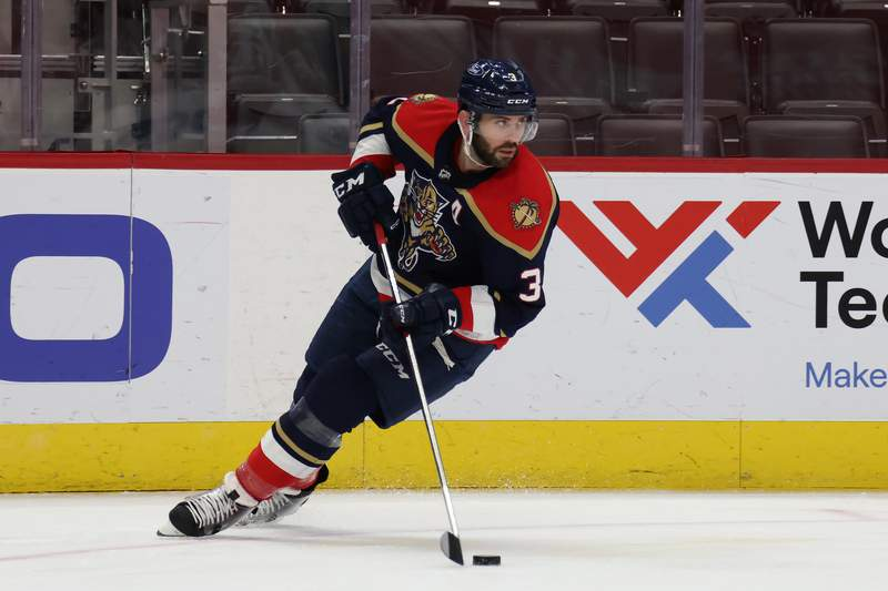 Keith Yandle of the Florida Panthers skates against the Detroit Red Wings at Little Caesars Arena on February 20, 2021 in Detroit, Michigan.