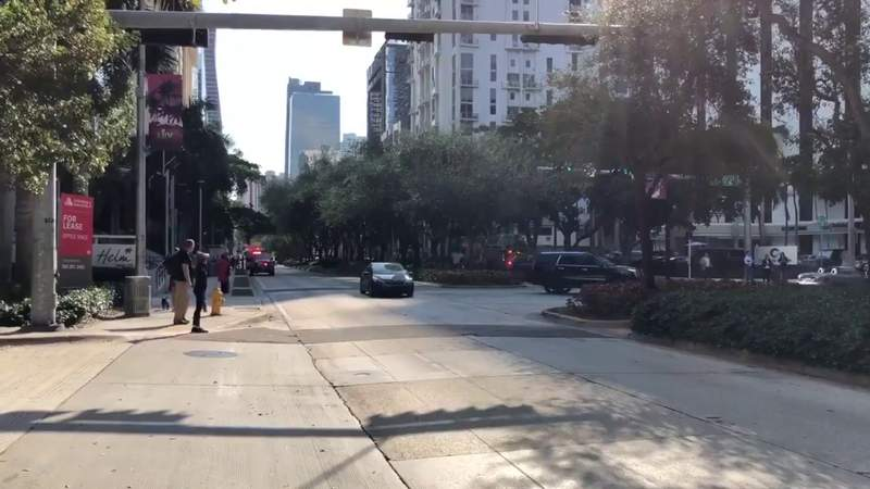 Police, emergency vehicles seen in Brickell area