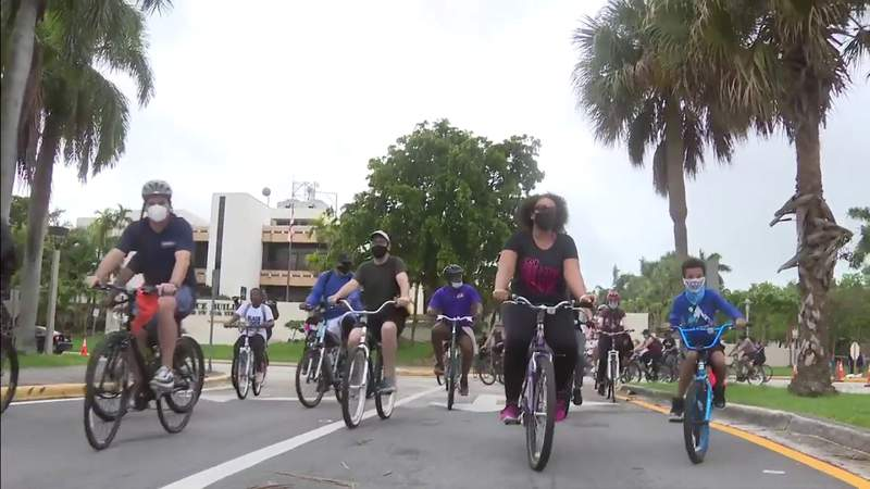 Peaceful protest held by group on two wheels  in South Florida