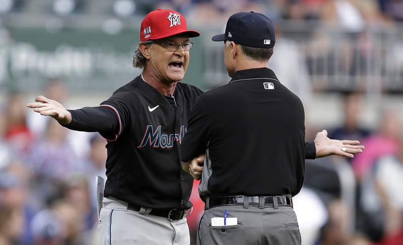 Miami Marlins manager Don Mattingly reacts after being ejected in the first inning of the team's game against the Atlanta Braves on July 2.