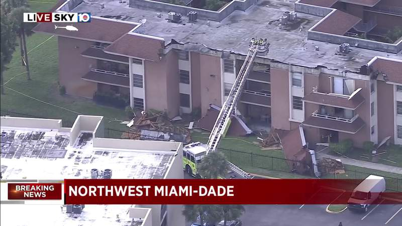 The roof came off of a three-story apartment building in Northwest Miami Dade Thursday. Police report that no one was injured, but the building was evacuated.