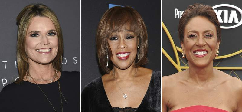 """In this combination photo, Today host Savannah Guthrie, from left, attends The Hollywood Reporter's annual Most Powerful People in Media cocktail reception on April 11, 2019, in New York, CBS This Morning host Gayle King attends """"Tina - The Tina Turner Musical"""" Broadway opening night on Nov. 7, 2019, in New York and Good Morning America host Robin Roberts arrives at the NBA Awards on June 24, 2019, in Santa Monica, Calif. The pandemic has been rough on the broadcast morning shows, so they're looking to make themselves valuable to consumers during other parts of the day. (AP Photo)"""
