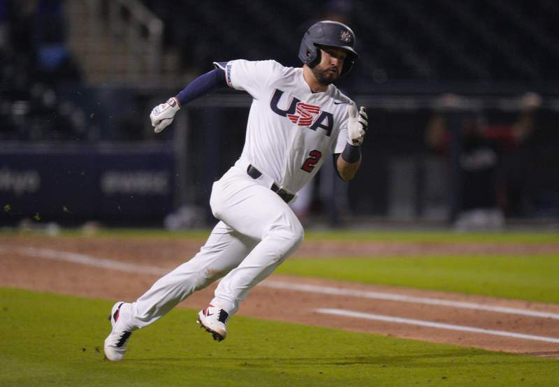 Eddy Alvarez of the United States runs the bases after hitting an RBI triple in the sixth inning against Canada during the WBSC Baseball Americas Qualifier Super Round at The Ballpark of the Palm Beaches on June 4 in West Palm Beach.
