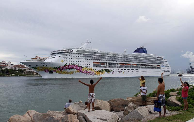 The cruise ship Norwegian Sky is shown in South Pointe Park as it heads to sea in Miami Beach, Fla., Monday, Aug. 2, 2010. (AP Photo/Alan Diaz)