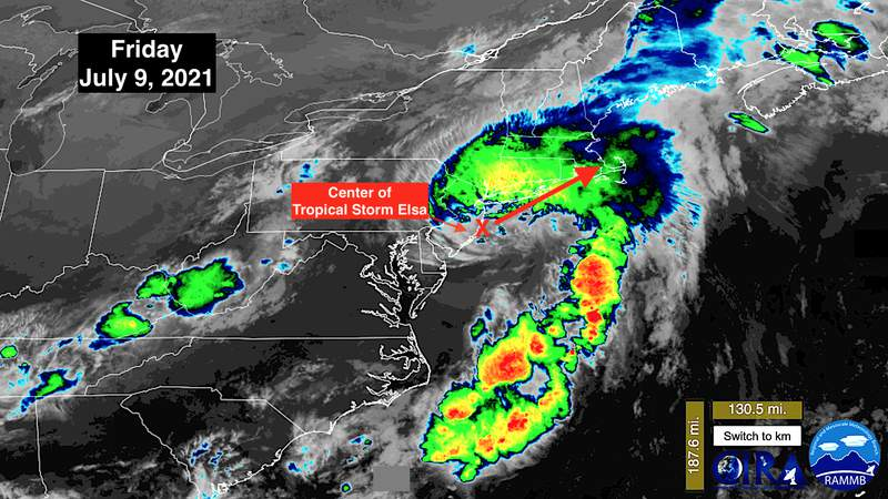A satellite view of Tropical Storm Elsa on July 9, 2021.