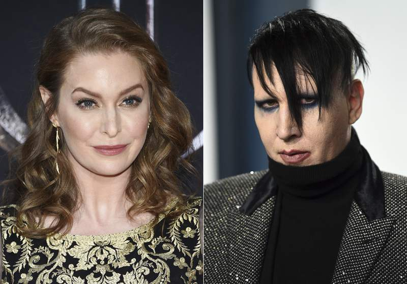 "In this combination photo, actress Esm Bianco appears at HBO's ""Game of Thrones"" final season premiere in New York on April 3, 2019, left, and musician Marilyn Manson appears at the Vanity Fair Oscar Party in Beverly Hills, Calif. on Feb. 9, 2020. Bianco has sued Marilyn Manson alleging sexual, physical and emotional abuse. She filed the lawsuit in federal court in Los Angeles on Friday, April 30, 2021. (Photos by Evan Agostini/Invision/AP)"