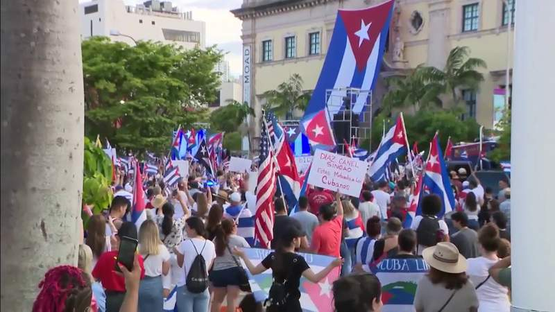 Large crowd gathers for protest in Downtown Miami outside Freedom Tower