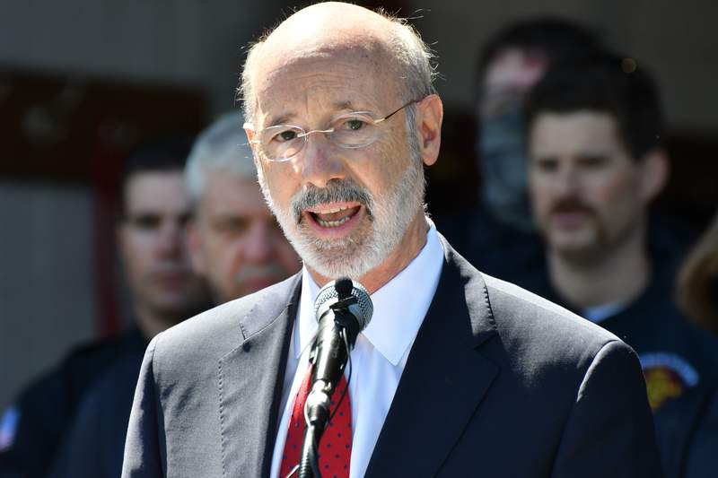 FILE - In this May 12, 2021 file photo, Gov. Tom Wolf speaks at an event in Mechanicsburg, Pa.  Beyond the local races on ballots, Pennsylvanias primary election will determine the future of a governors authority during disaster declarations. Voters statewide Tuesday, May 18 will decide four separate ballot questions, including two on whether to give state lawmakers much more power over disaster declarations. (AP Photo/Marc Levy)