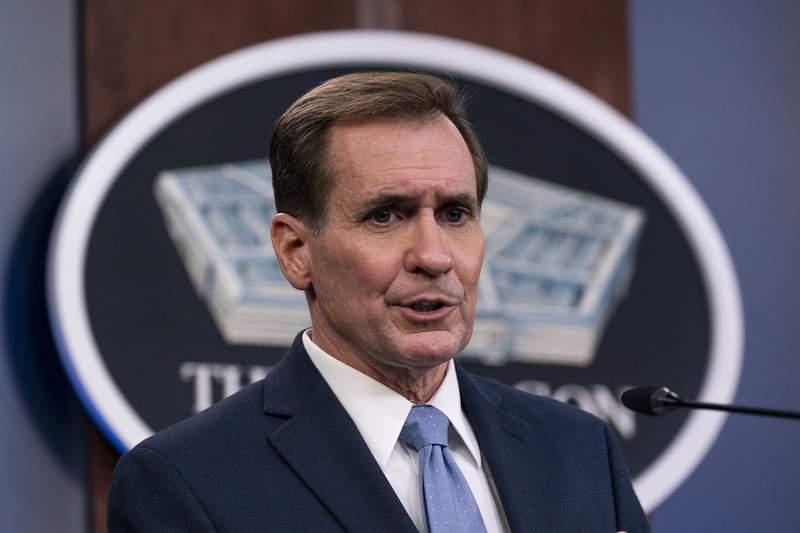 Pentagon spokesman John Kirby speaks during a media briefing at the Pentagon, Thursday, Jan. 28, 2021, in Washington. (AP Photo/Alex Brandon)