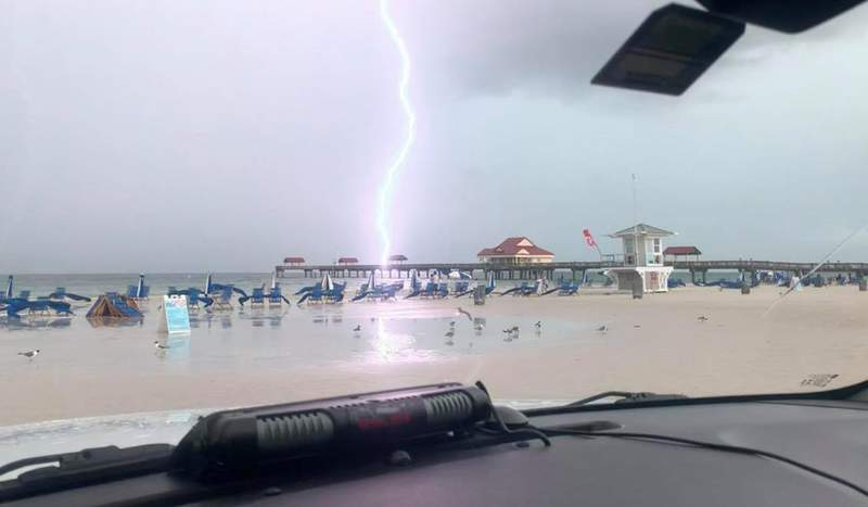 Lightning strikes near a beach in Clearwater on Wednesday.