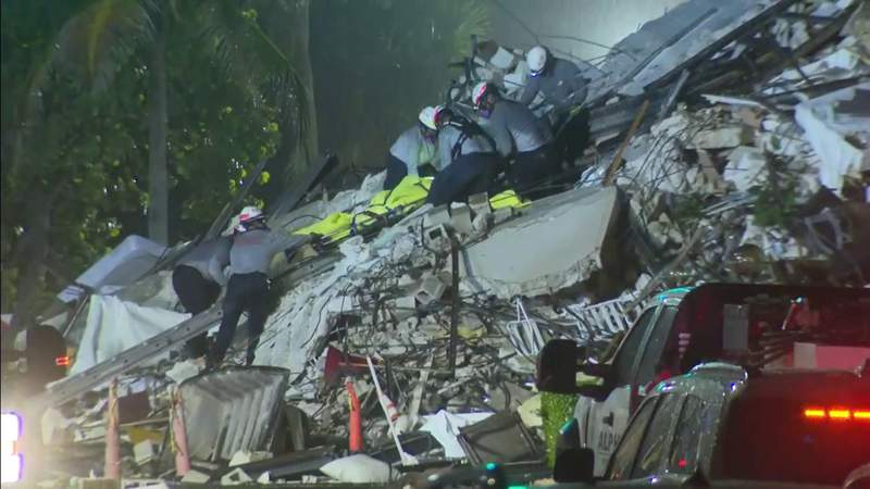Rescuers remove body from rubble of Chaplain Towers South in Surfside