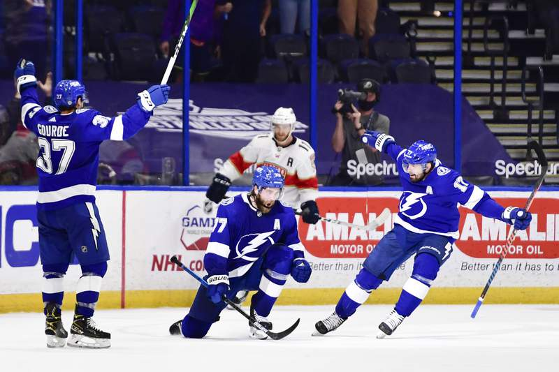 Victor Hedman of the Tampa Bay Lightning reacts after scoring to win the game against the Florida Panthers during overtime by a score of 3-0 at Amalie Arena on April 15, 2021 in Tampa, Florida.