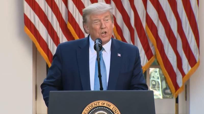 President Donald Trump speaking during the White House Coronavirus Task Force Briefing on April 15, 2020.