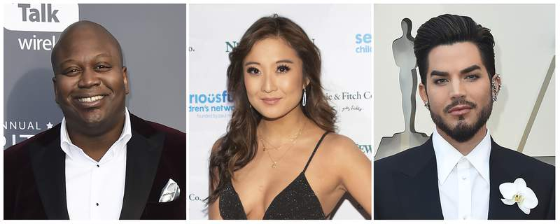 This combination of file photos shows from left to right, Tituss Burgess, Ashley Park and Adam Lambert. The entertainers are performing in TikToks crowdsourced Ratatouille musical. The one-night-only benefit concert will begin streaming on Friday, Jan. 1, 2021 at 7 p.m. ET for 72 hours. Proceeds will benefit The Actors Fund, which aids entertainment industry workers.  (AP Photo)