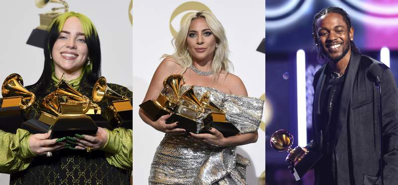 """This combination photo shows, Billie Eilish holding her awards at the 62nd annual Grammy Awards on  Jan. 26, 2020, from left, Lady Gaga holding her awards at the 61st annual Grammy Awards on Feb. 10, 2019 and Kendrick Lamar accepting the award for best rap album for """"Damn"""" at the 60th annual Grammy Awards on Jan. 28, 2018. Interscope Geffen A&M (IGA), the home to Eilish, Lady Gaga and Lamar, has been named the No. 1 record label of the year by Billboard. (AP Photo)"""