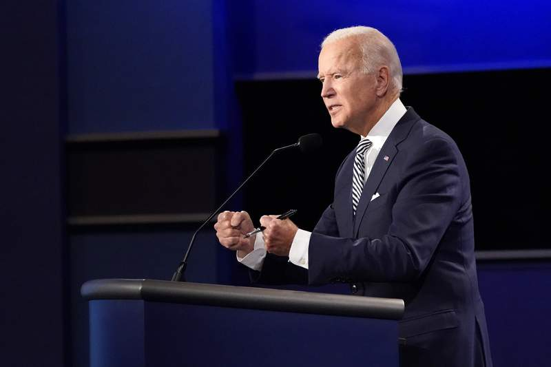 Democratic presidential candidate former Vice President Joe Biden speaks during the first presidential debate with President Donald Trump Tuesday, Sept. 29, 2020, at Case Western University and Cleveland Clinic, in Cleveland, Ohio. (AP Photo/Julio Cortez)