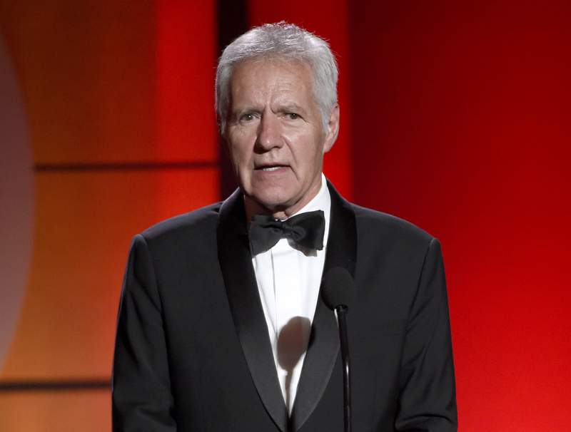 FILE - In this April 30, 2017, file photo, Alex Trebek speaks at the 44th annual Daytime Emmy Awards at the Pasadena Civic Center in Pasadena, Calif. Trebek says he's already rehearsed what he's going to say to the audience on his final show. Trebek, host of the popular game show since 1984, announced last March that he'd been diagnosed with stage 4 pancreatic cancer but will continue his job while still able. In an interview on ABC-TV broadcast Thursday, Trebek said he'll ask the director to leave him 30 seconds at the end of his last taping. (Photo by Chris Pizzello/Invision/AP, File)