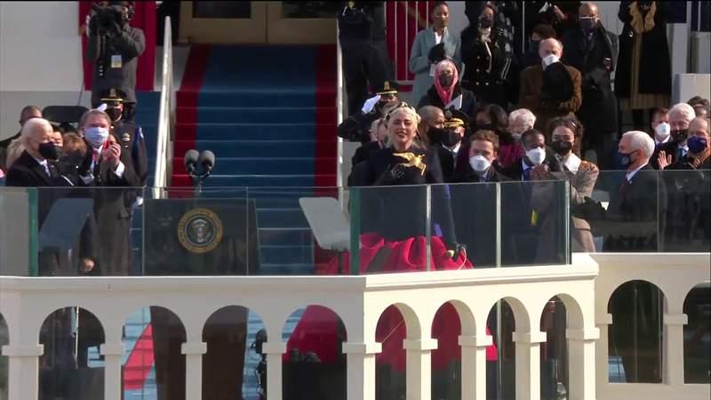 Lady Gaga sings National Anthem at Joe Biden's inauguration ceremony