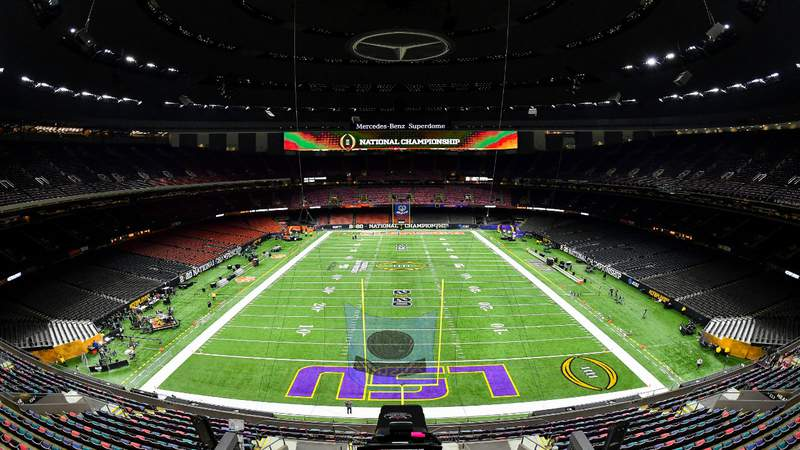 A general view of the field before the College Football Playoff National Championship game between the LSU Tigers and the Clemson Tigers at the Mercedes Benz Superdome on January 13, 2020 in New Orleans, Louisiana. Photo by Alika Jenner